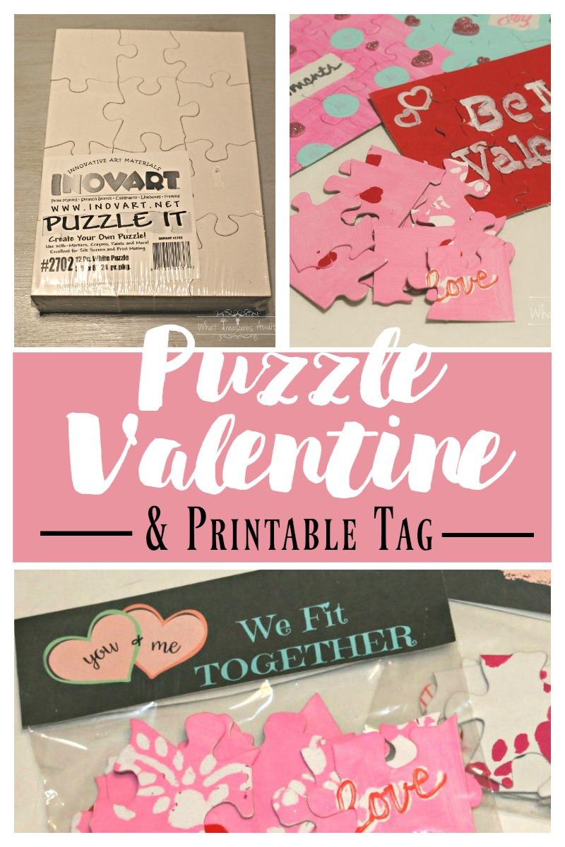 Diy Puzzle Valentine - What Treasures Await - Printable Valentine Puzzle