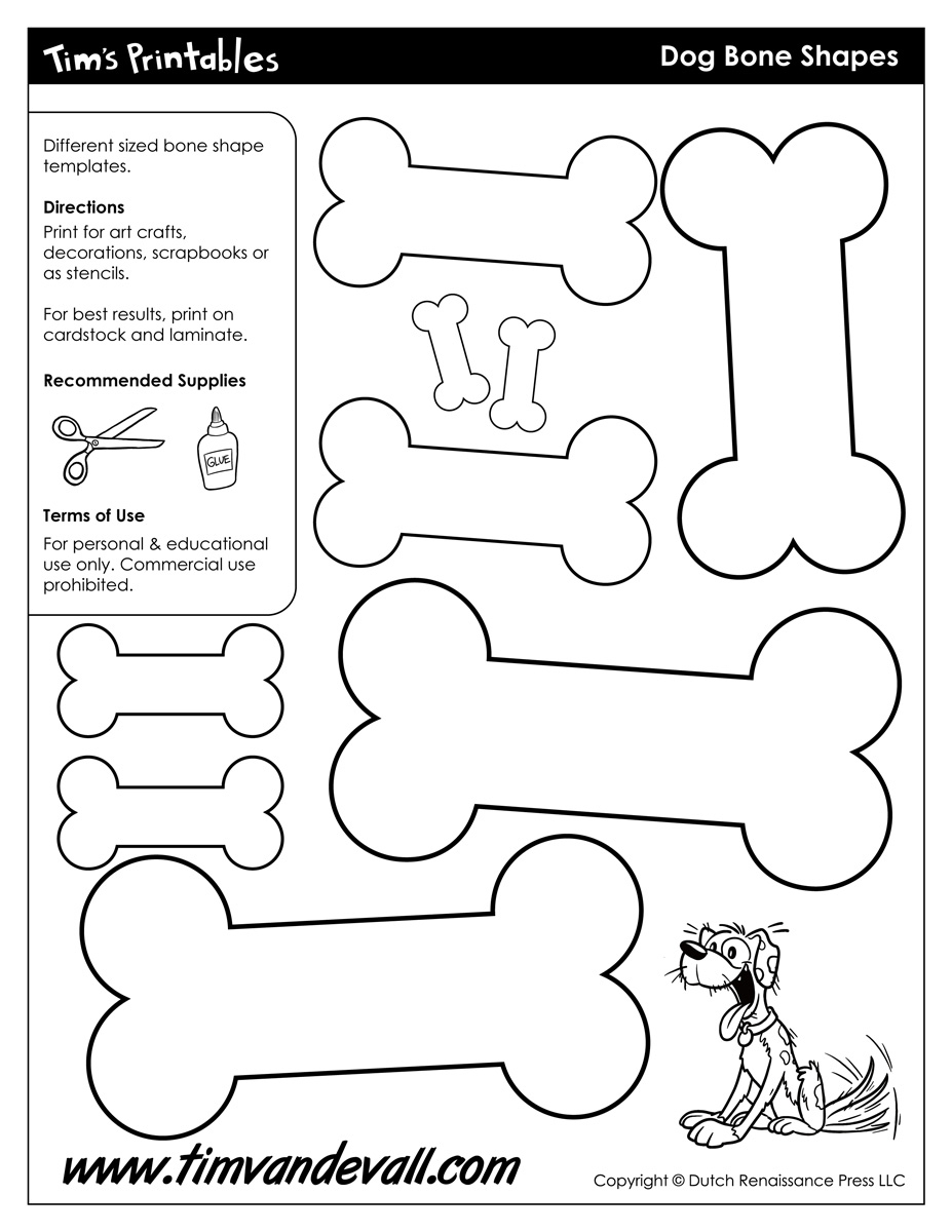Dog Bone Shapes - Tim's Printables - Free Printable Dog Puzzle