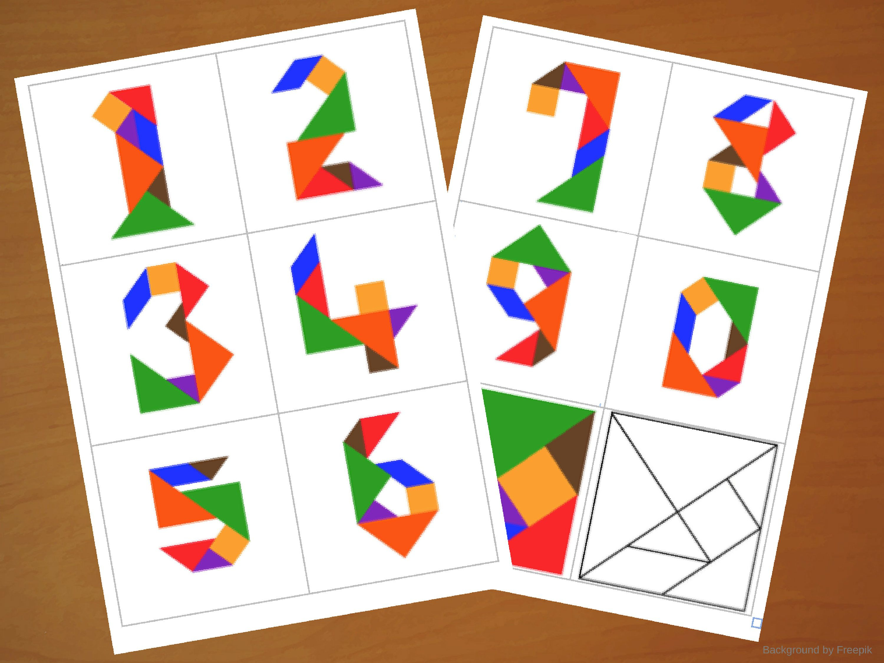 Downloadable Tangram Cards - Tangram Numbers - Tangram Puzzles - Printable Tangram Puzzle Pieces