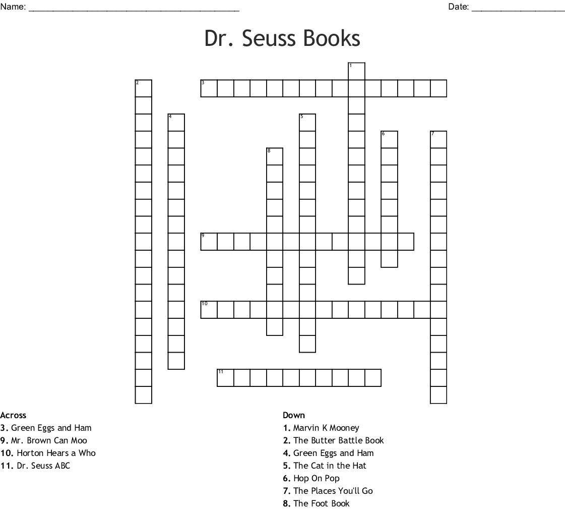 Dr. Seuss Books Crossword - Wordmint - Dr Seuss Crossword Puzzle Printable