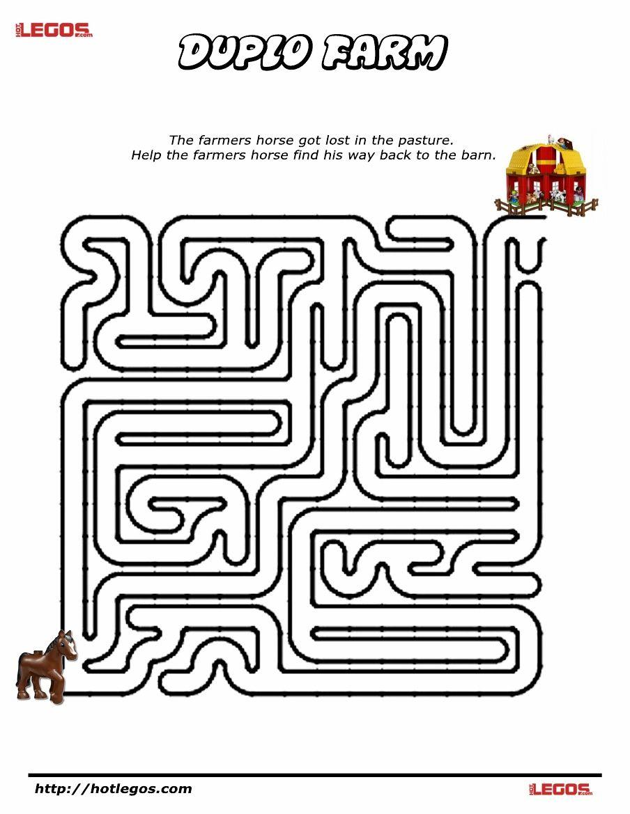 Duplo Farm Puzzle Maze. Free Printable | Lego Fun Stuff | Maze - Printable Puzzle Mazes