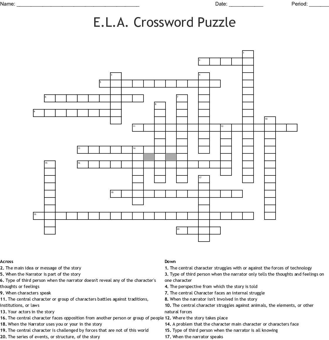 E.l.a. Crossword Puzzle Crossword - Wordmint - Crossword Printable 7Th Grade