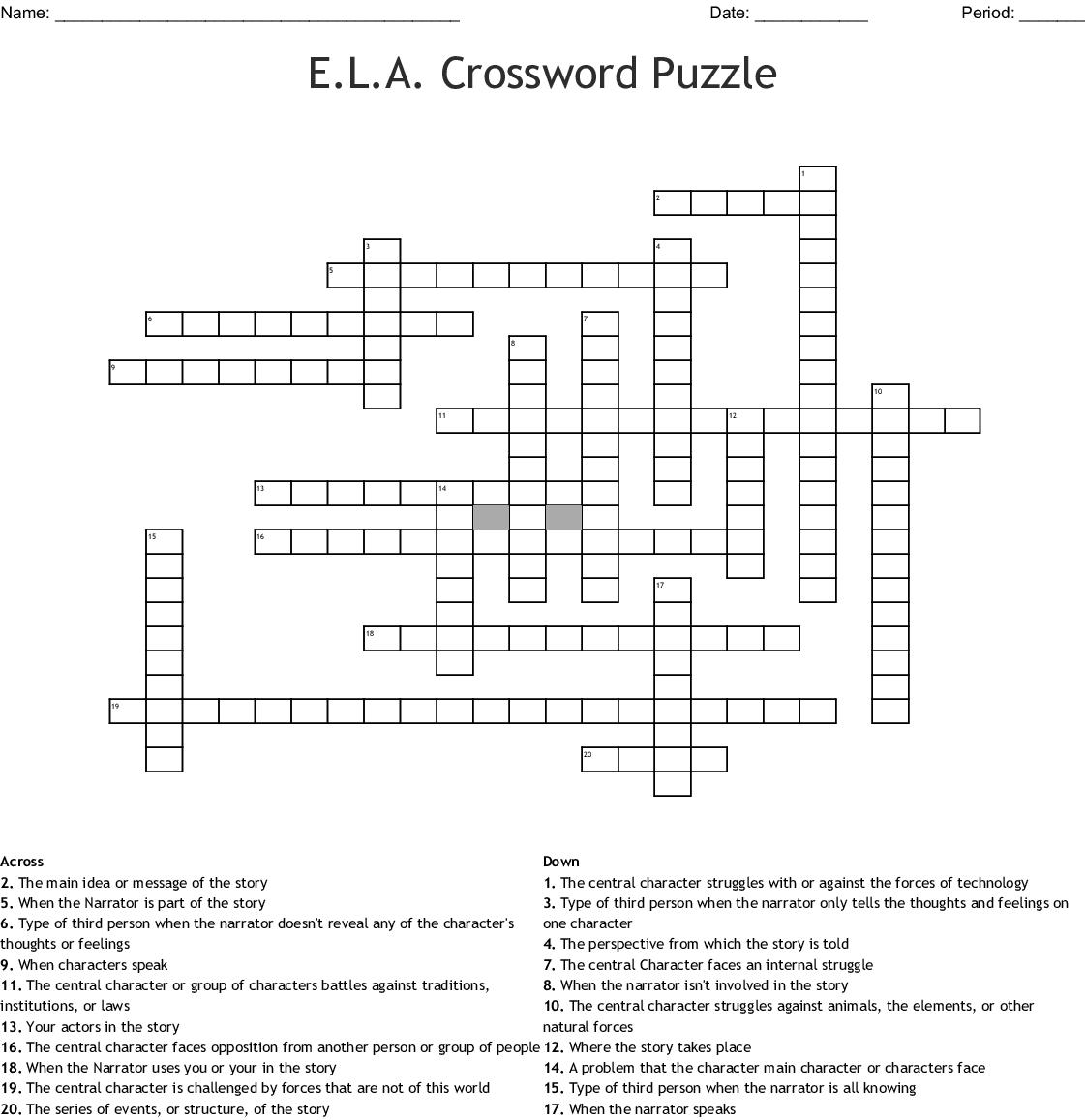 E.l.a. Crossword Puzzle Crossword - Wordmint - Printable Ela Puzzles