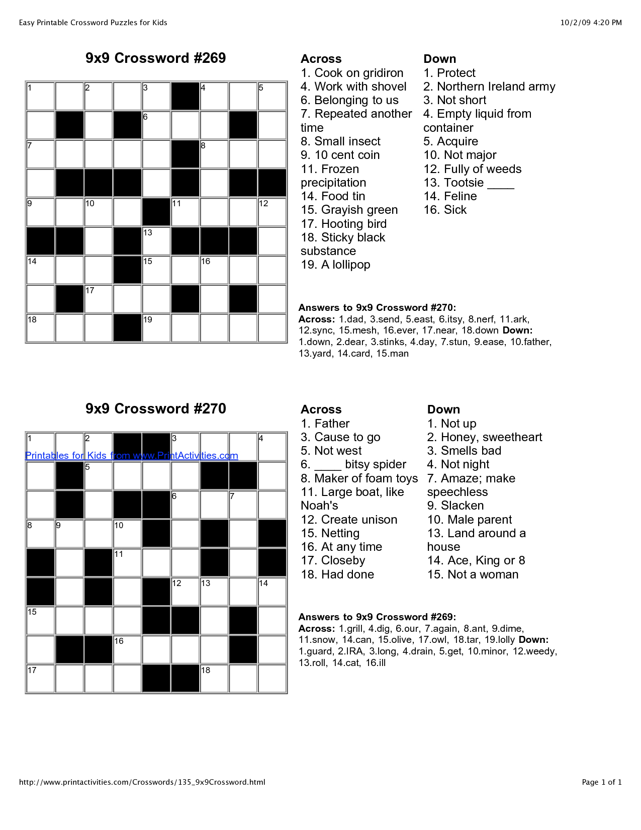 √ Printable English Crossword Puzzles With Answers - Printable Crossword Puzzles English