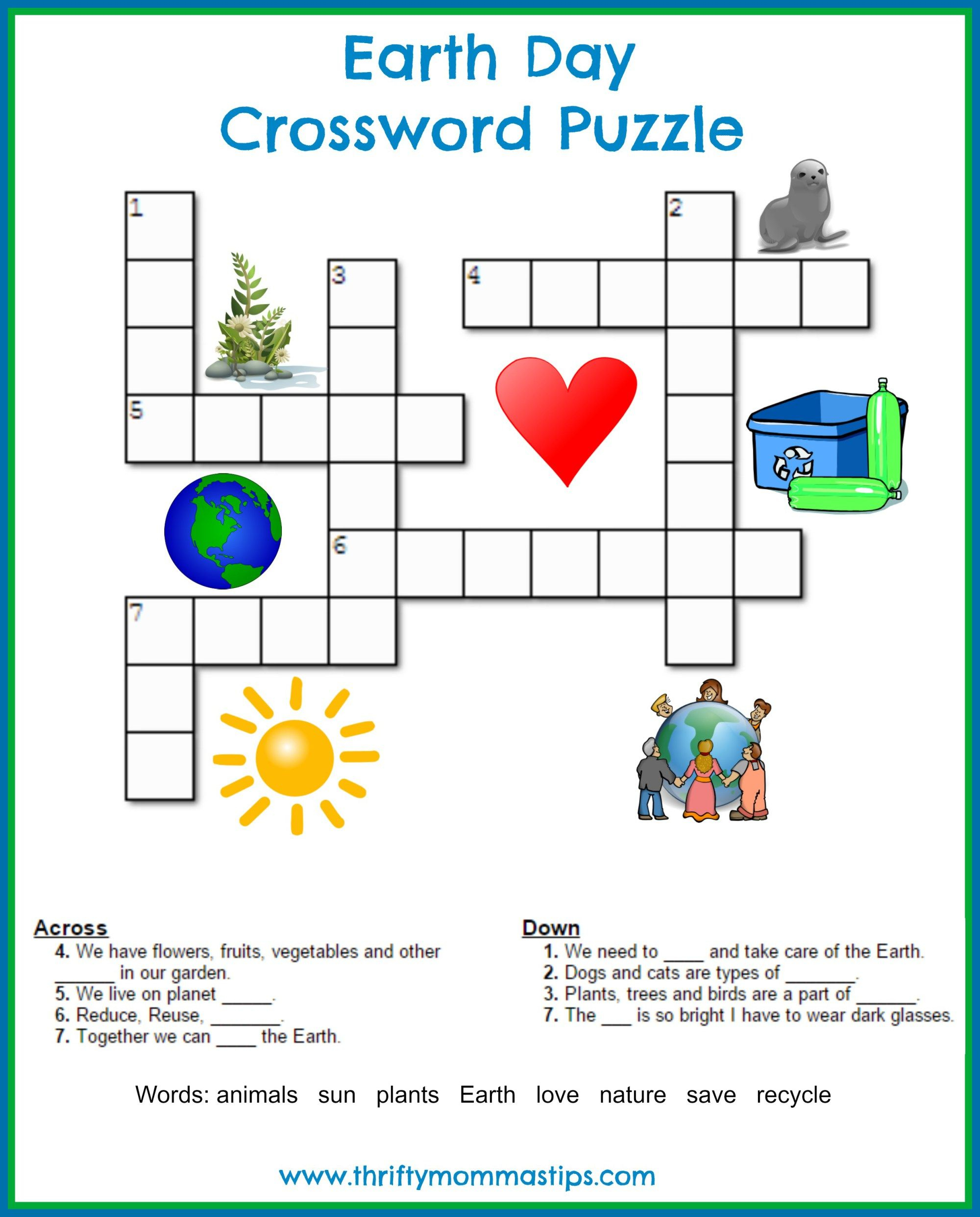 Earth Day Crossword Puzzle | Earth Day | Printable Crossword Puzzles - Printable Crossword Of The Day