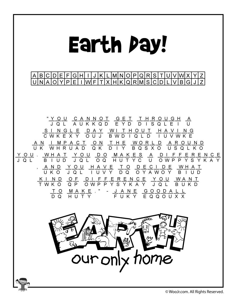 Earth Day Cryptogram Puzzle Solution | Class Decorations | Earth Day - Printable Puzzles Cryptograms
