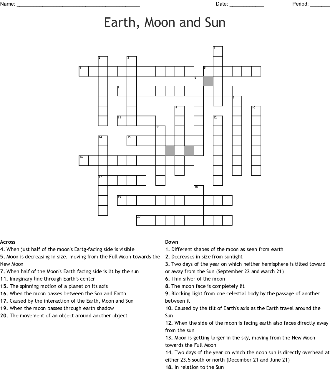 Earth, Moon And Sun Crossword - Wordmint - Sun Crossword Printable Version