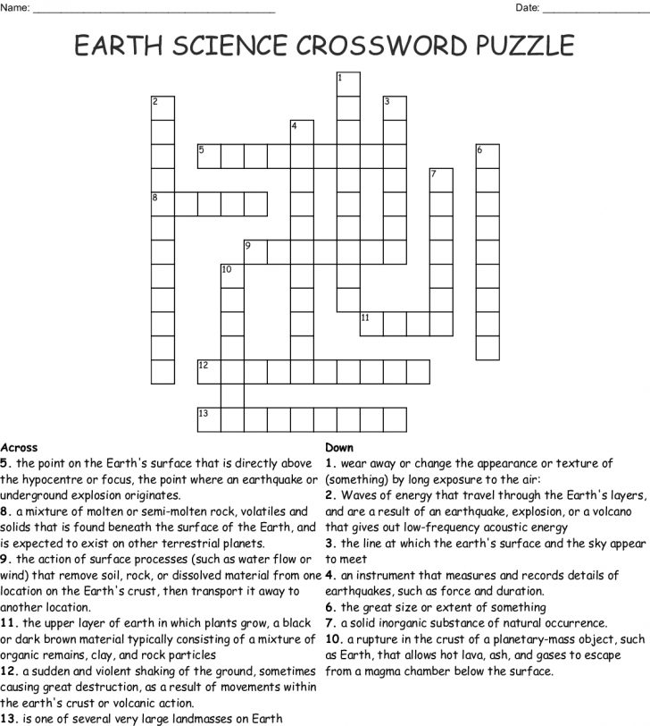 Printable Science Crossword Puzzles