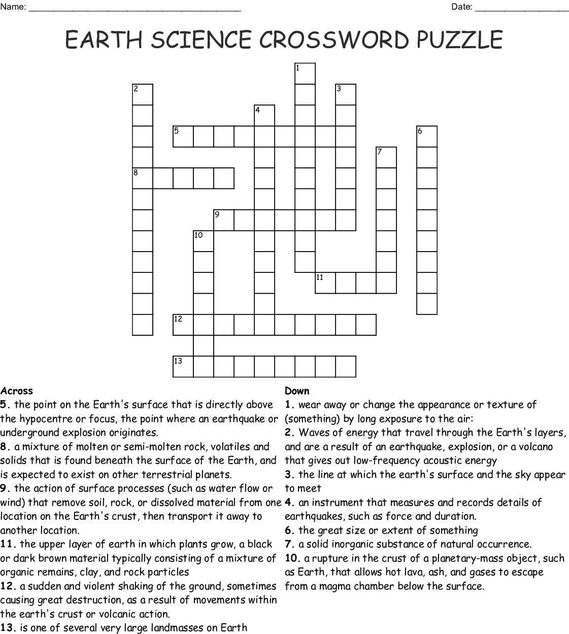 Earth Science Crossword Puzzle Crossword - Wordmint - Science Crossword Puzzles Printable
