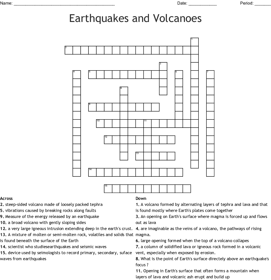 Earthquakes And Volcanoes Crossword - Wordmint - Volcano Crossword Puzzle Printable