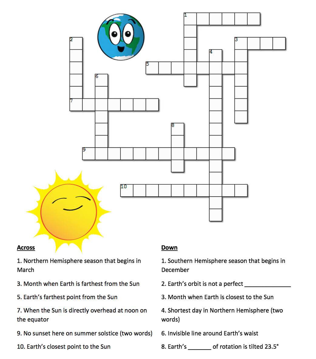 Earth's Seasons And The Sun: A Crossword Puzzle | Nasa - Printable Crosswords The Sun