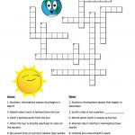 Earth's Seasons And The Sun: A Crossword Puzzle | Nasa   Printable Sun Crossword