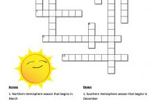 Earth's Seasons And The Sun: A Crossword Puzzle   Nasa   Printable Sun Crossword