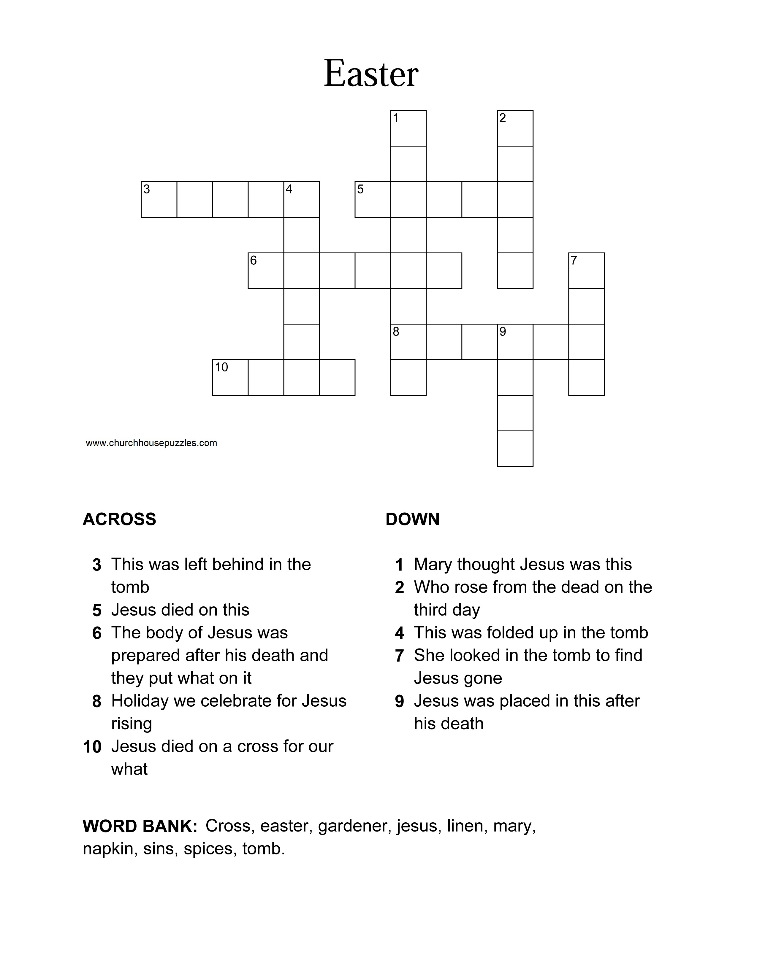Easter Crossword Puzzle - Printable Crossword Puzzles For Easter