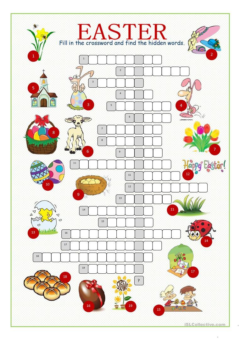 Easter Crossword Puzzle Worksheet - Free Esl Printable Worksheets - Printable Crossword Puzzles Easter