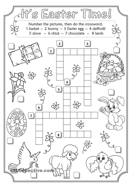 Easter Crossword | Teaching English | Easter Crossword, Easter - Easter Crossword Puzzle Printable Worksheets