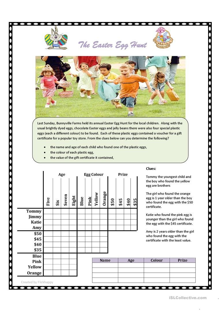 Easter Egg Hunt Logic Puzzle Worksheet - Free Esl Printable - Printable Deductive Reasoning Puzzles