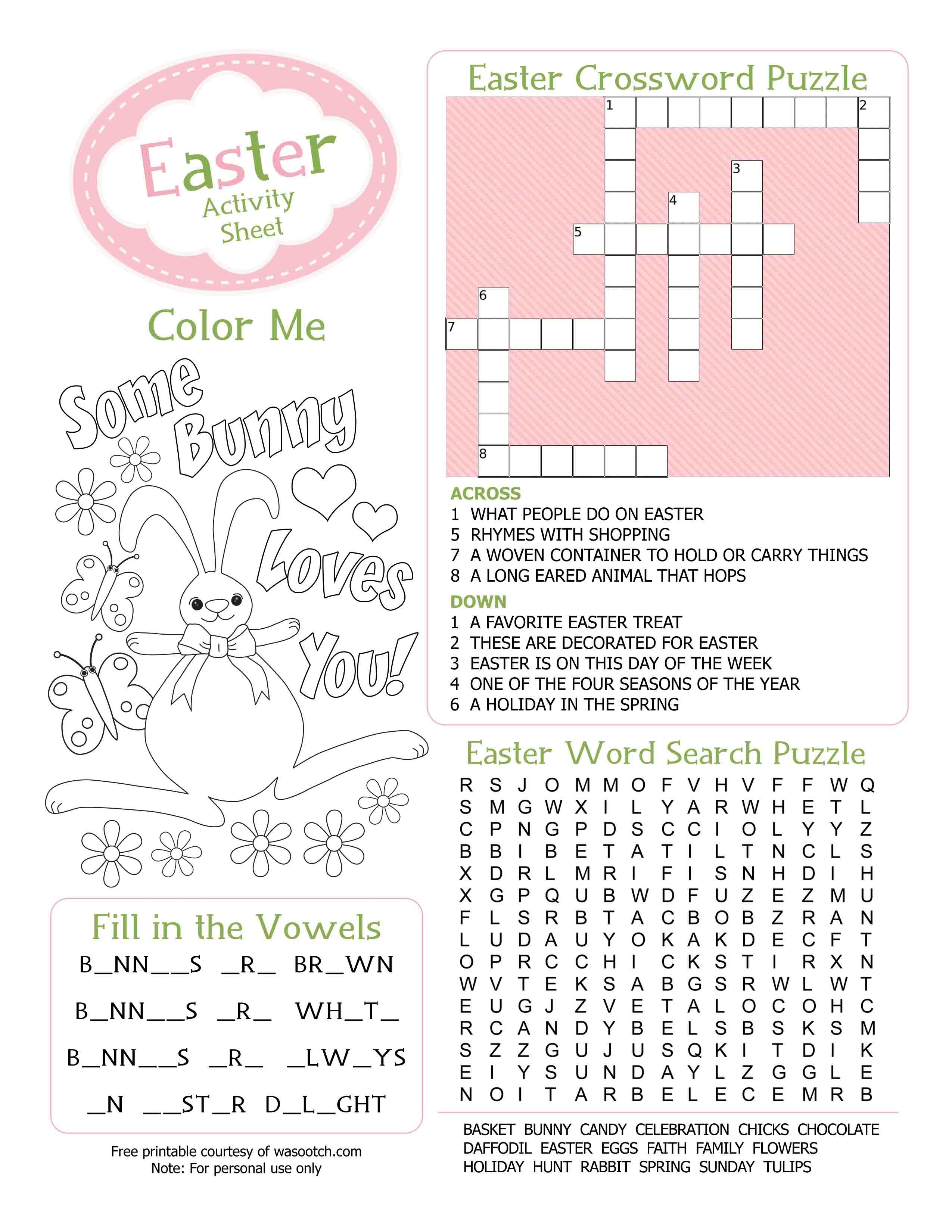Easter Kid's Activity Sheet Free Printables Available @party - Easter Crossword Puzzle Printable Worksheets