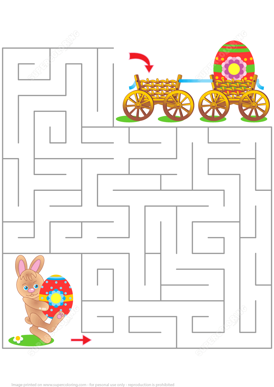 Easter Maze Puzzle   Free Printable Puzzle Games - Printable Labyrinth Puzzles