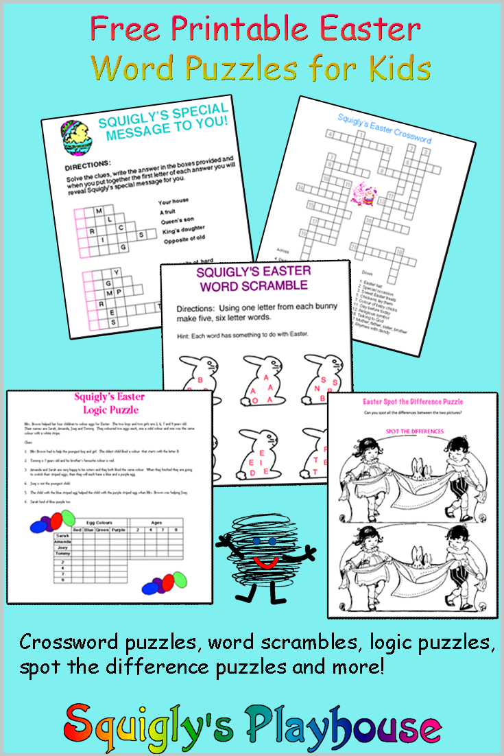 Easter Puzzles At Squigly's Playhouse - Printable Pencil Puzzles
