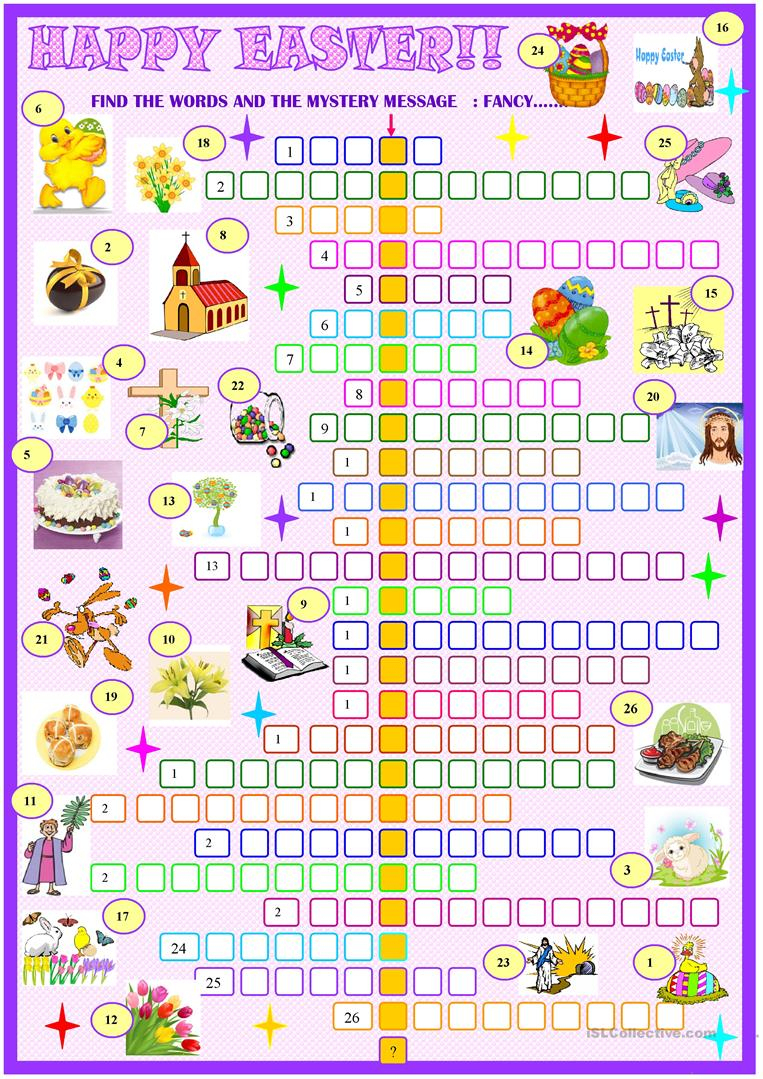 Easter:crossword Puzzle With Key Worksheet - Free Esl Printable - Printable Easter Puzzles