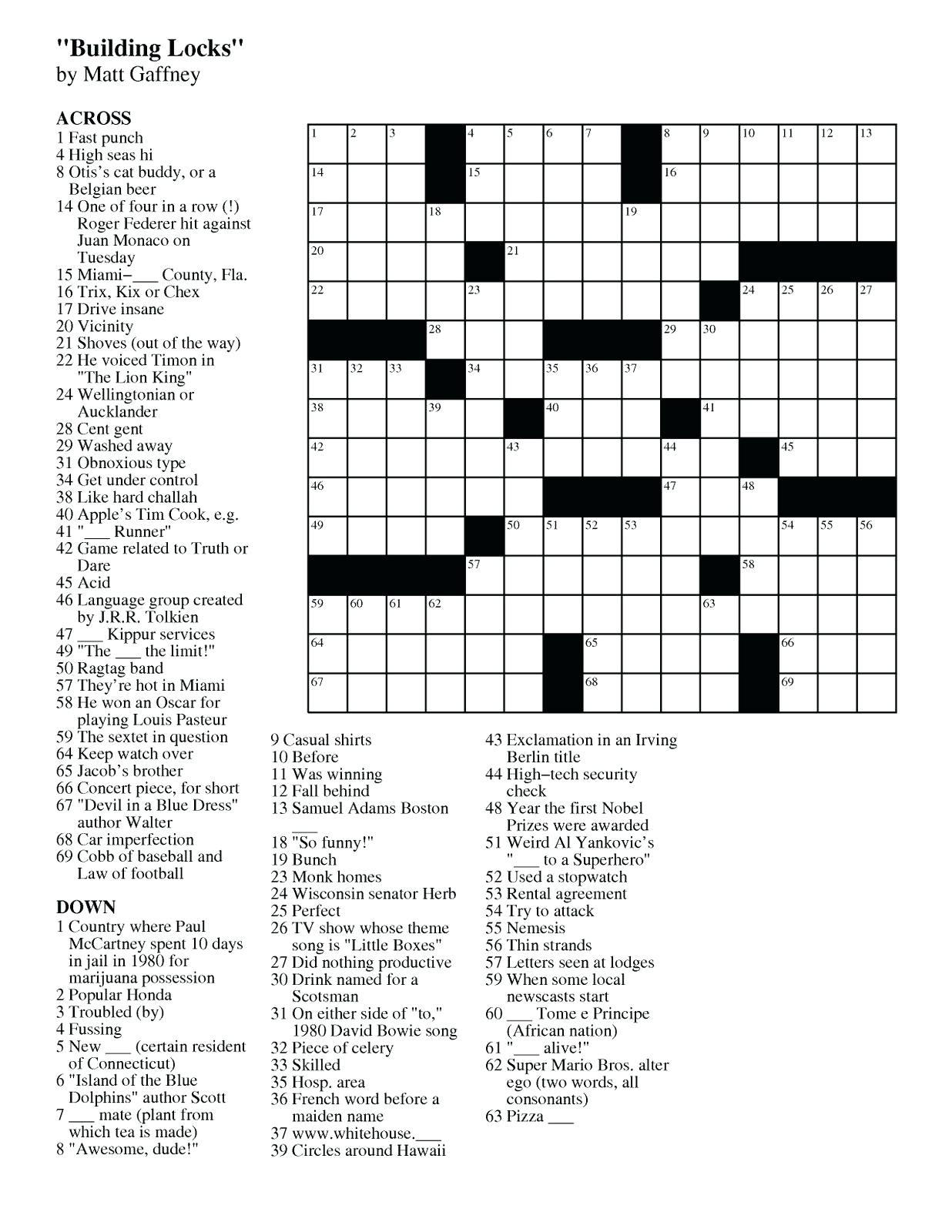 Easy Crossword Puzzle Printable – Loveisallaround.club - Printable Crossword Puzzles Uk