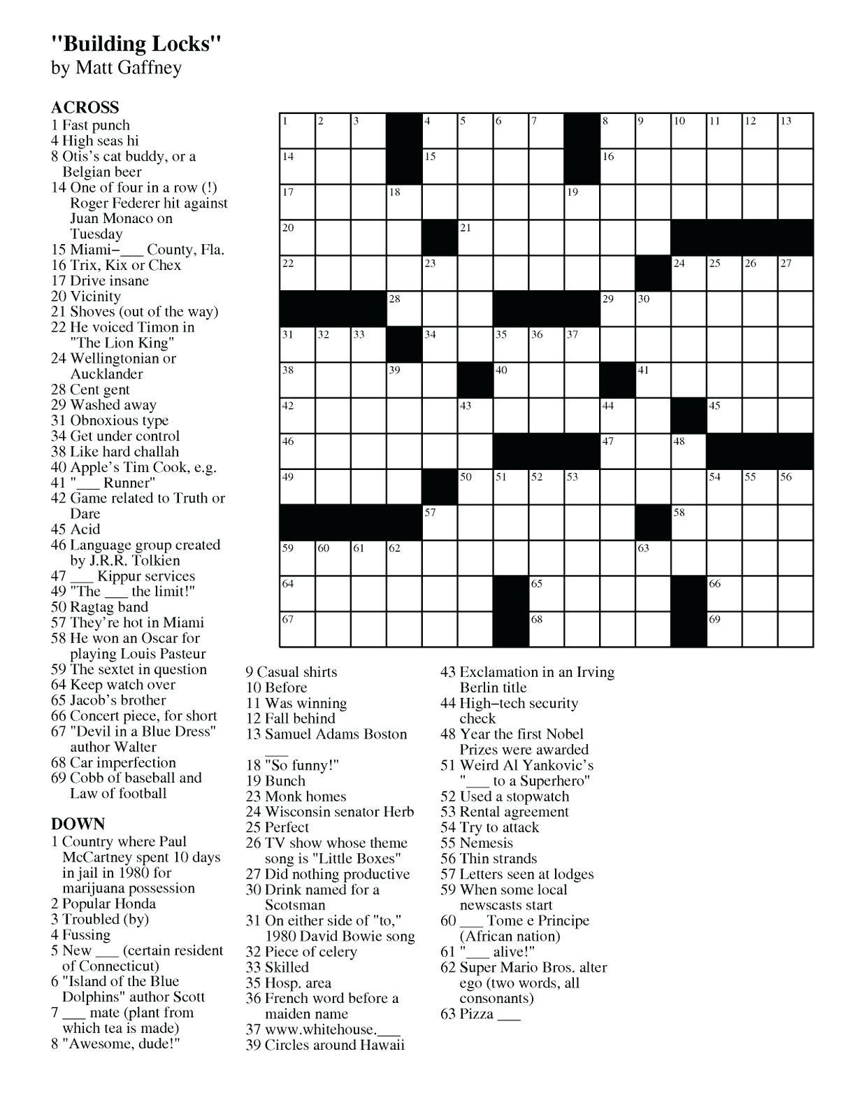 Easy Crossword Puzzle Printable – Loveisallaround.club - Printable Diy Crossword Puzzles