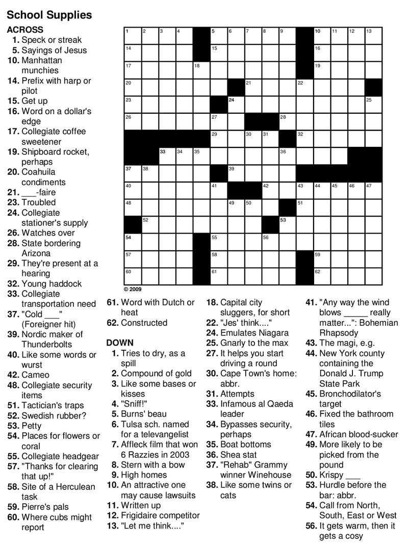 Easy Crossword Puzzles For Seniors Practice » Printable Coloring - Printable Crossword For Seniors