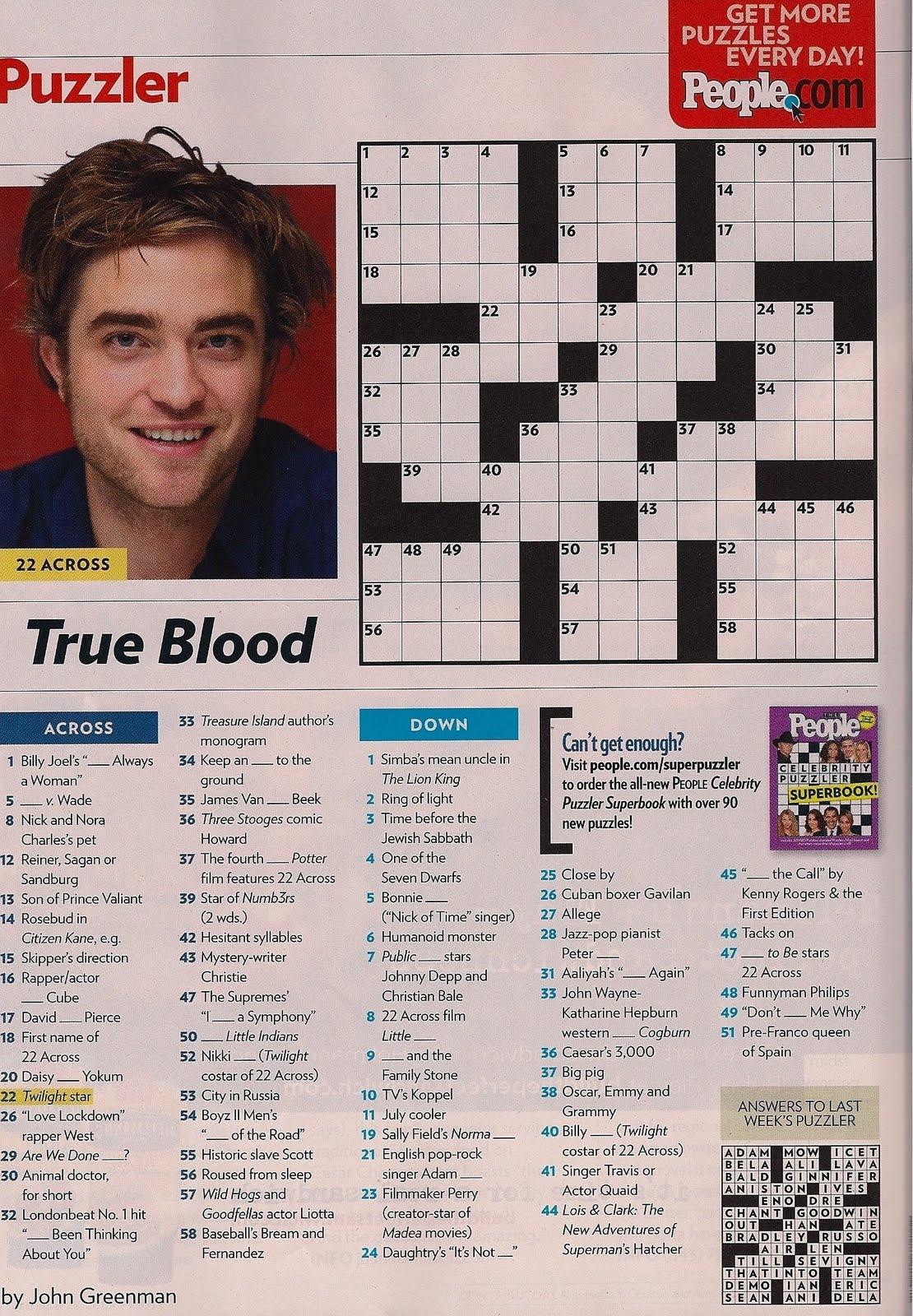Easy Crossword Puzzles Online - Printable People Magazine Crossword Puzzles