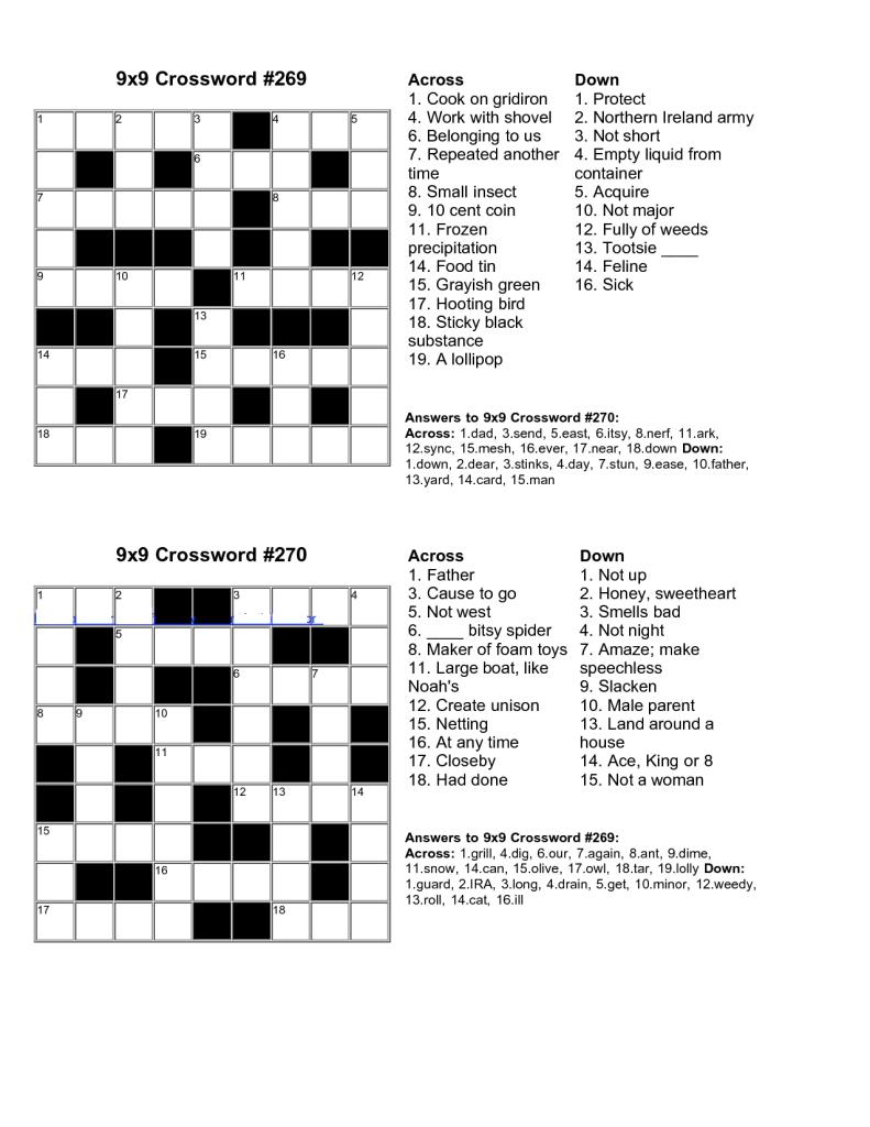 Easy Kids Crossword Puzzles | Kiddo Shelter | Educative Puzzle For - Crossword Puzzles Printable Pdf