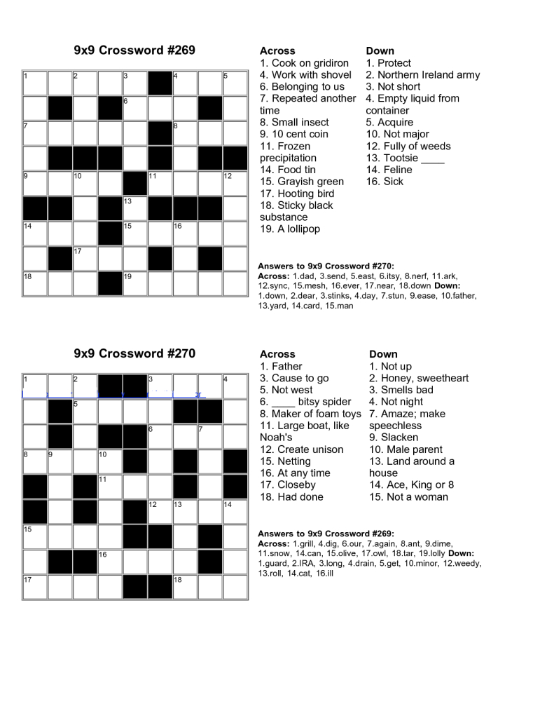 Easy Kids Crossword Puzzles | Kiddo Shelter | Educative Puzzle For - Printable Crossword Puzzle And Answers