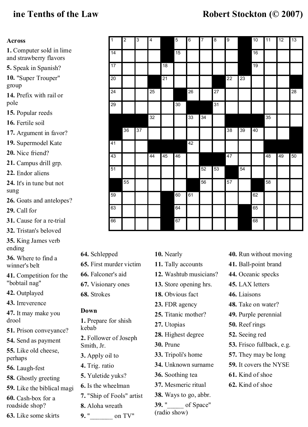 Easy Printable Crossword Puzzels - Infocap Ltd. - Free Online Printable Easy Crossword Puzzles