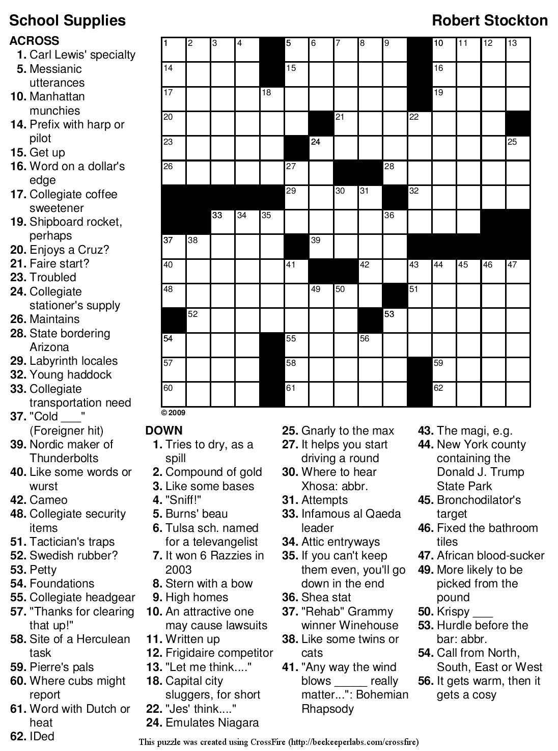 Easy Printable Crossword Puzzles | Educating The Doolittle | Free - Printable Crossword Puzzles For High School Students