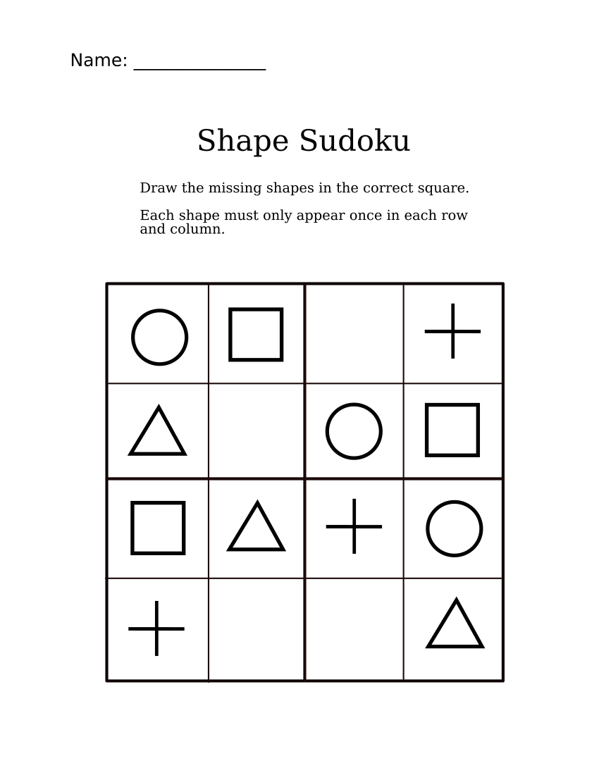 Easy Shapes Sudoku For Kindergarteners   Sudoku For Littles   Sudoku - Printable Puzzles For 4 Year Olds