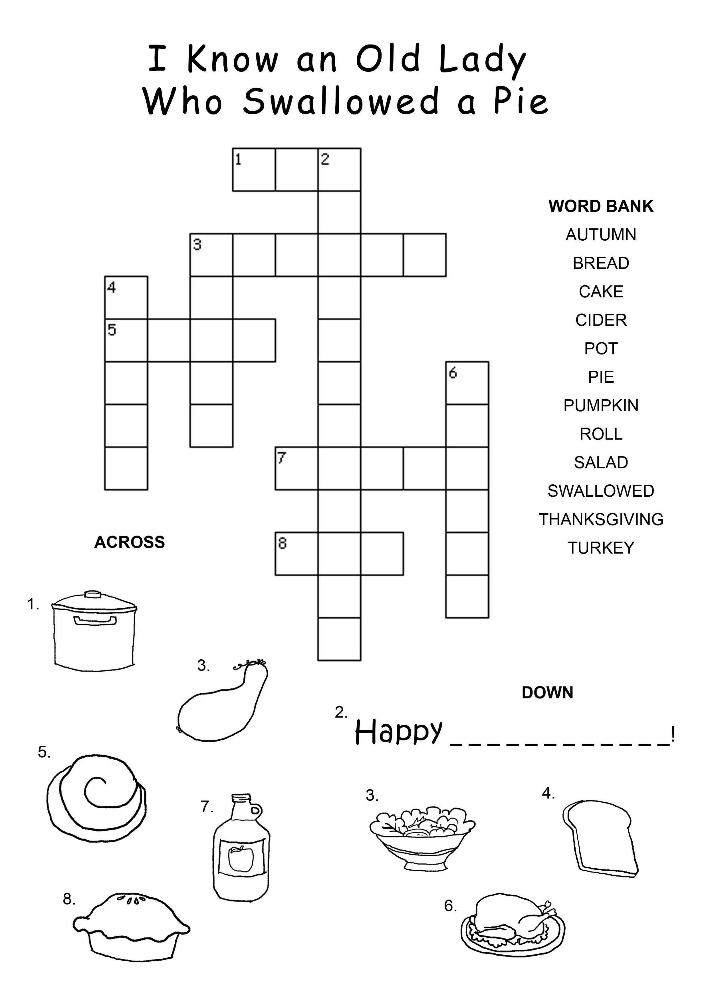 Easy Thanksgiving Crossword Puzzles For Kids | Kiddo Shelter - Easy Crossword Puzzles Printable For Kids