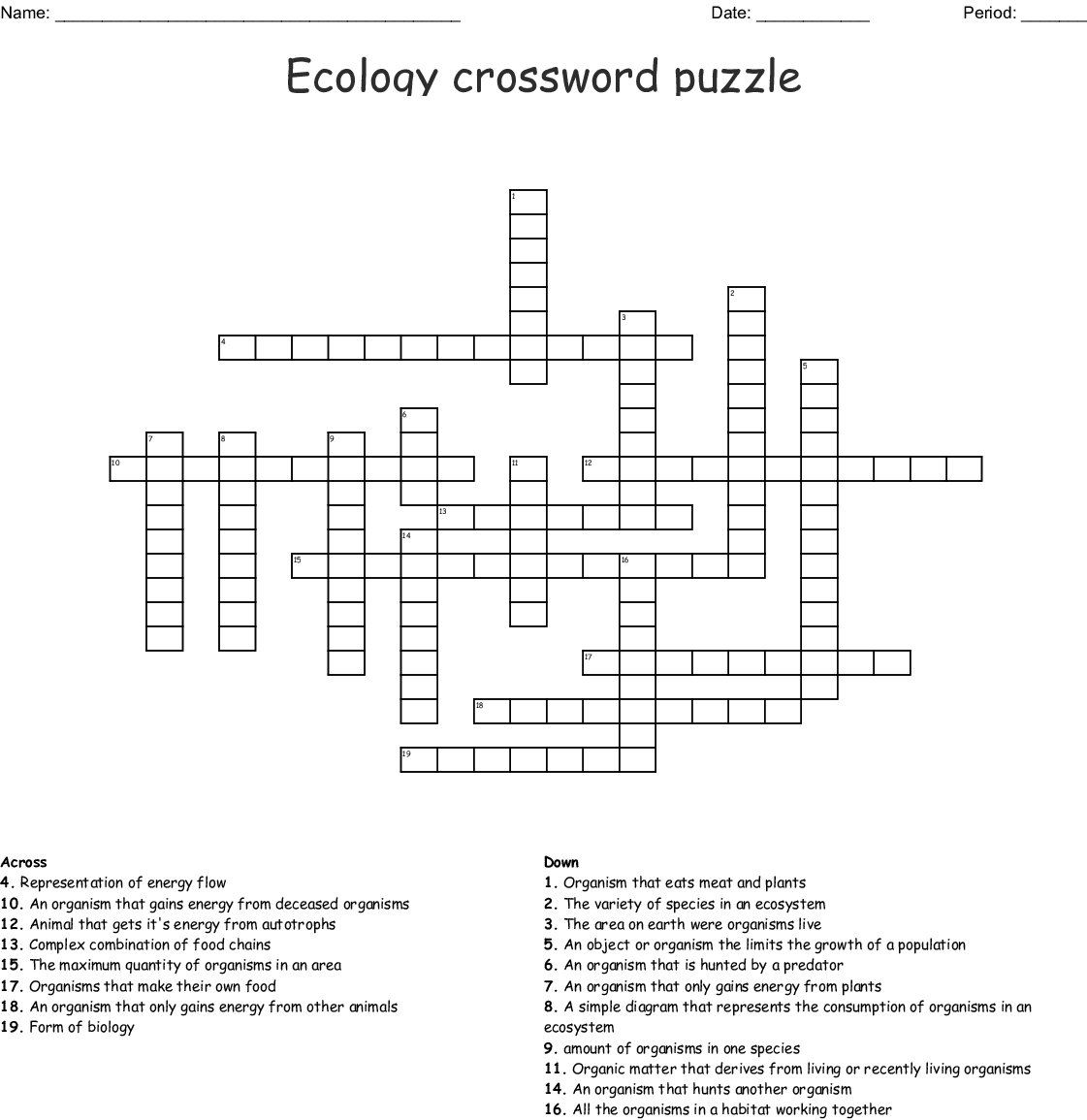 Ecology Crossword Puzzle Crossword - Wordmint - Printable Energy Puzzle