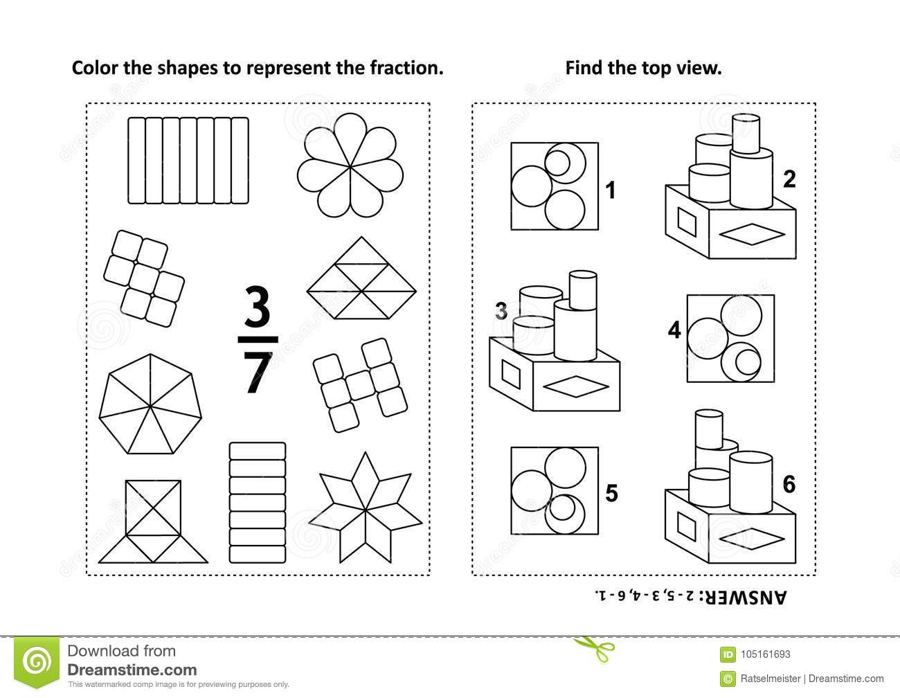 Educational Math Activity Page With Two Puzzles And Coloring - Printable Visual Puzzles