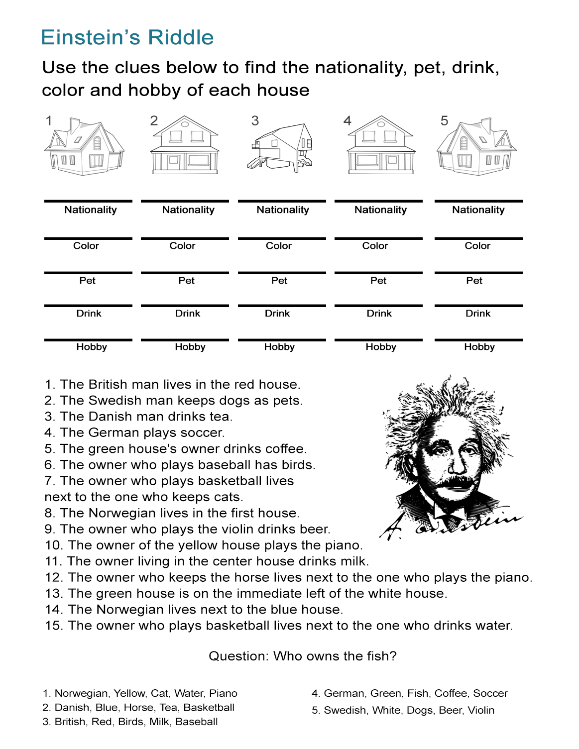 Einstein's Riddle: Detective-Style Logic Activity - All Esl - Printable Zebra Puzzles