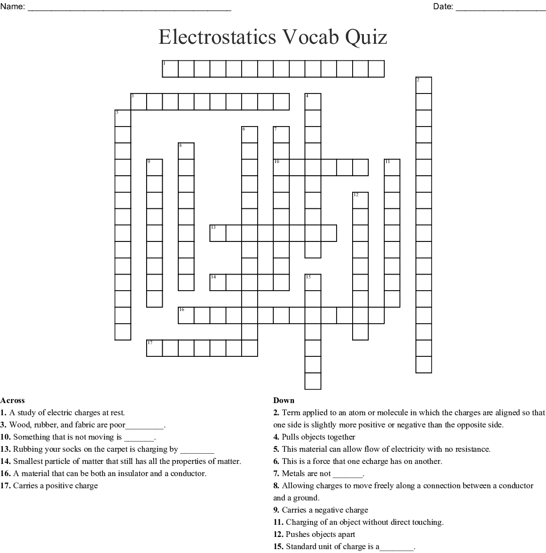 Electrostatics Vocab Quiz Crossword - Wordmint - Printable Vocabulary Quiz Crossword Puzzle