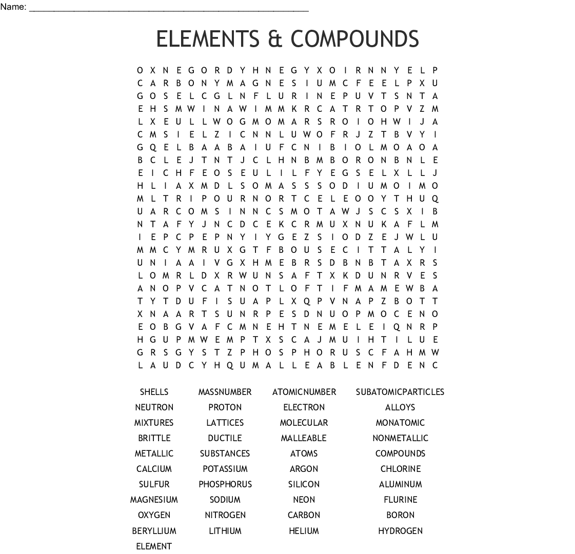 Elements & Compounds Word Search - Wordmint - Printable Compound Word Crossword Puzzle