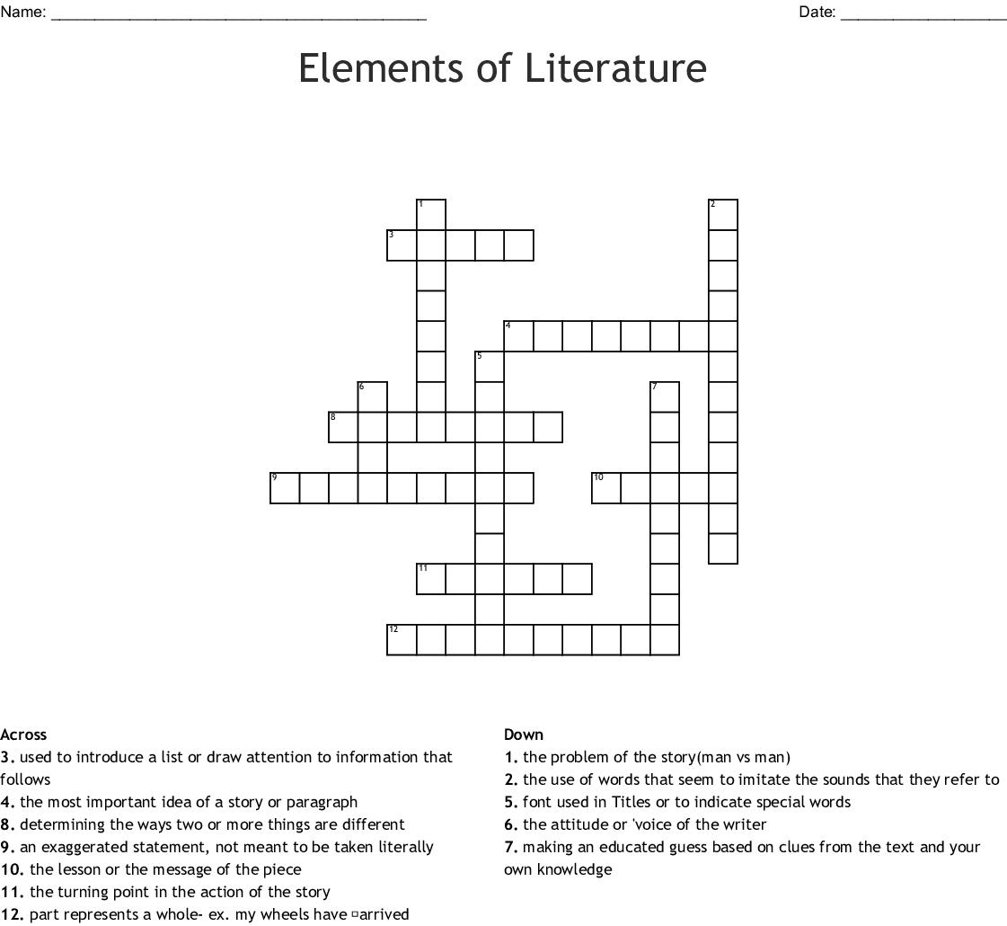 Elements Of Literature Crossword - Wordmint - Literature Crossword Puzzles Printable