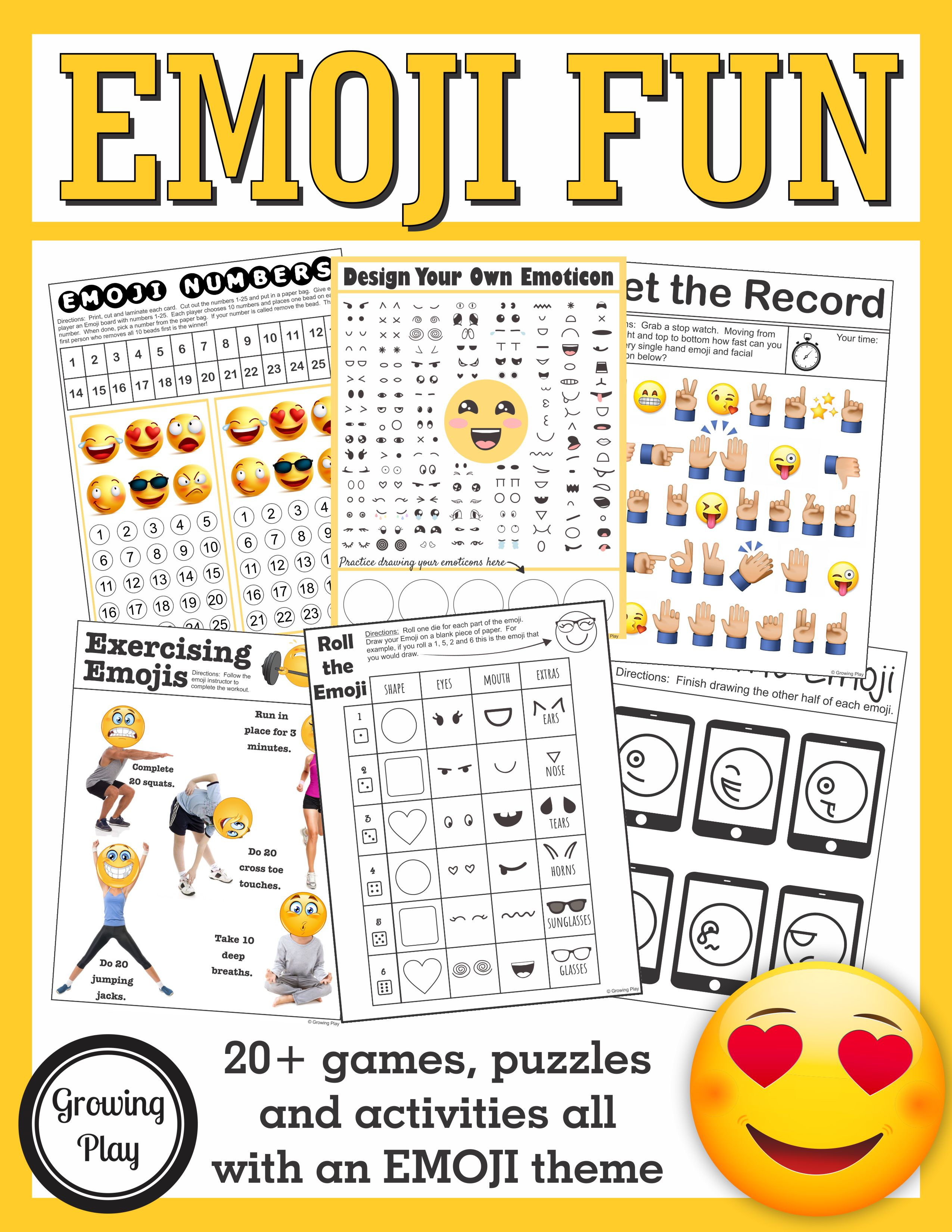Emoji Games And Puzzles Packet Emoji Birthday Parties - Growing Play - Printable Puzzle Packet
