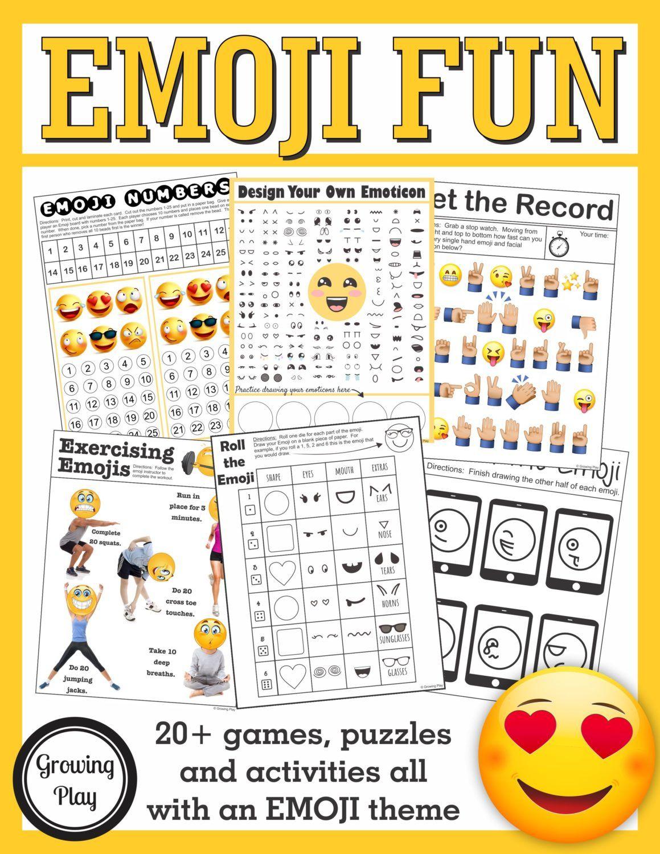 Emoji Games And Puzzles Packet Emoji Birthday Parties In 2019 - Printable Emoji Puzzles