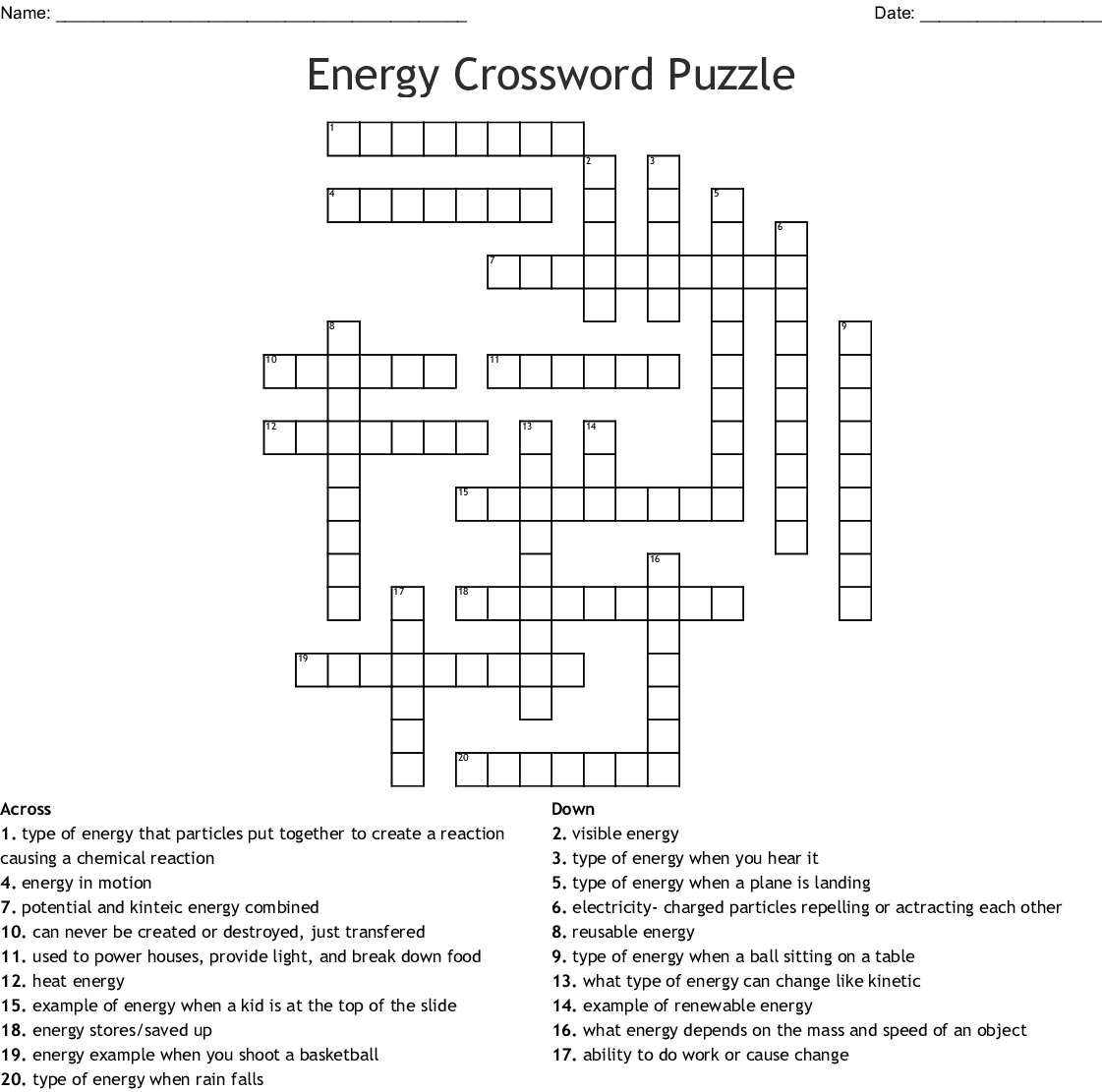 Energy Crossword Puzzle Crossword - Wordmint - Printable Energy Puzzle
