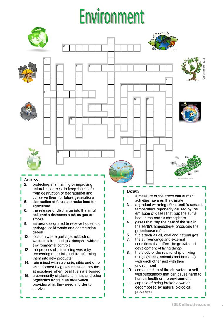 Environment - Crossword Puzzle Worksheet - Free Esl Printable - Printable English Crossword Puzzles With Answers