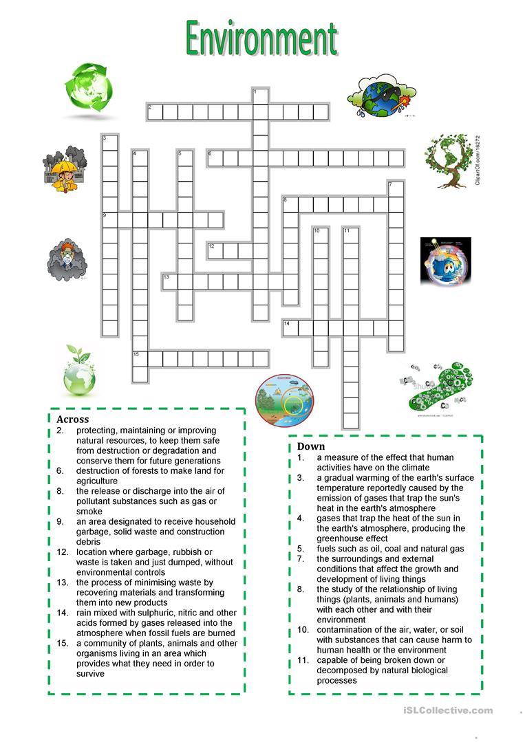 Environment - Crossword Puzzle Worksheet - Free Esl Printable - Printable English Vocabulary Crossword Puzzle