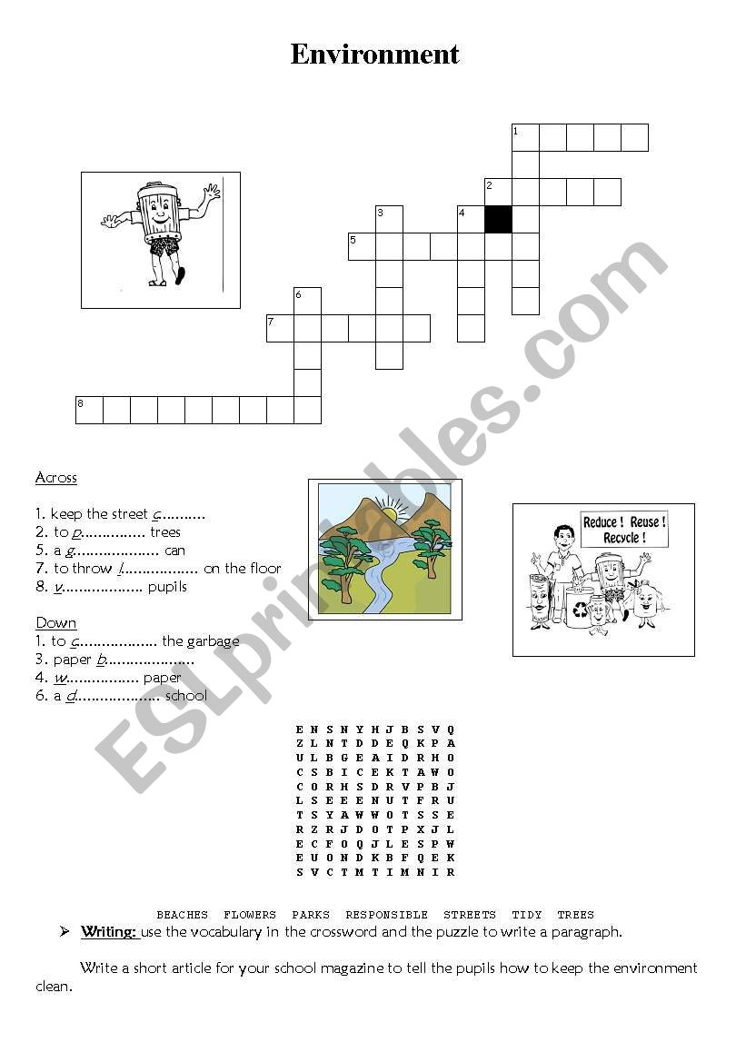 Environment: Crossword+Puzzle - Esl Worksheetyessine - Recycling Crossword Puzzle Printable