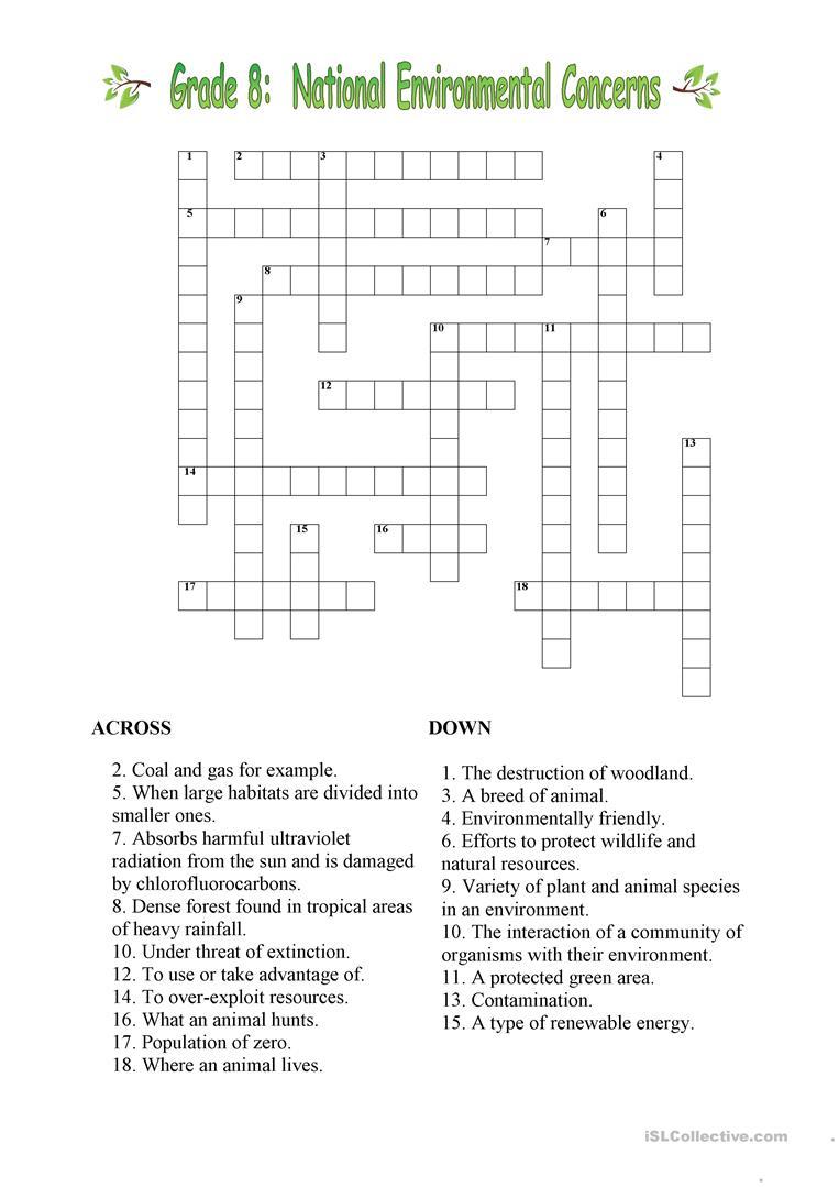Environmental Crossword Worksheet - Free Esl Printable Worksheets - Printable Crossword For Grade 6
