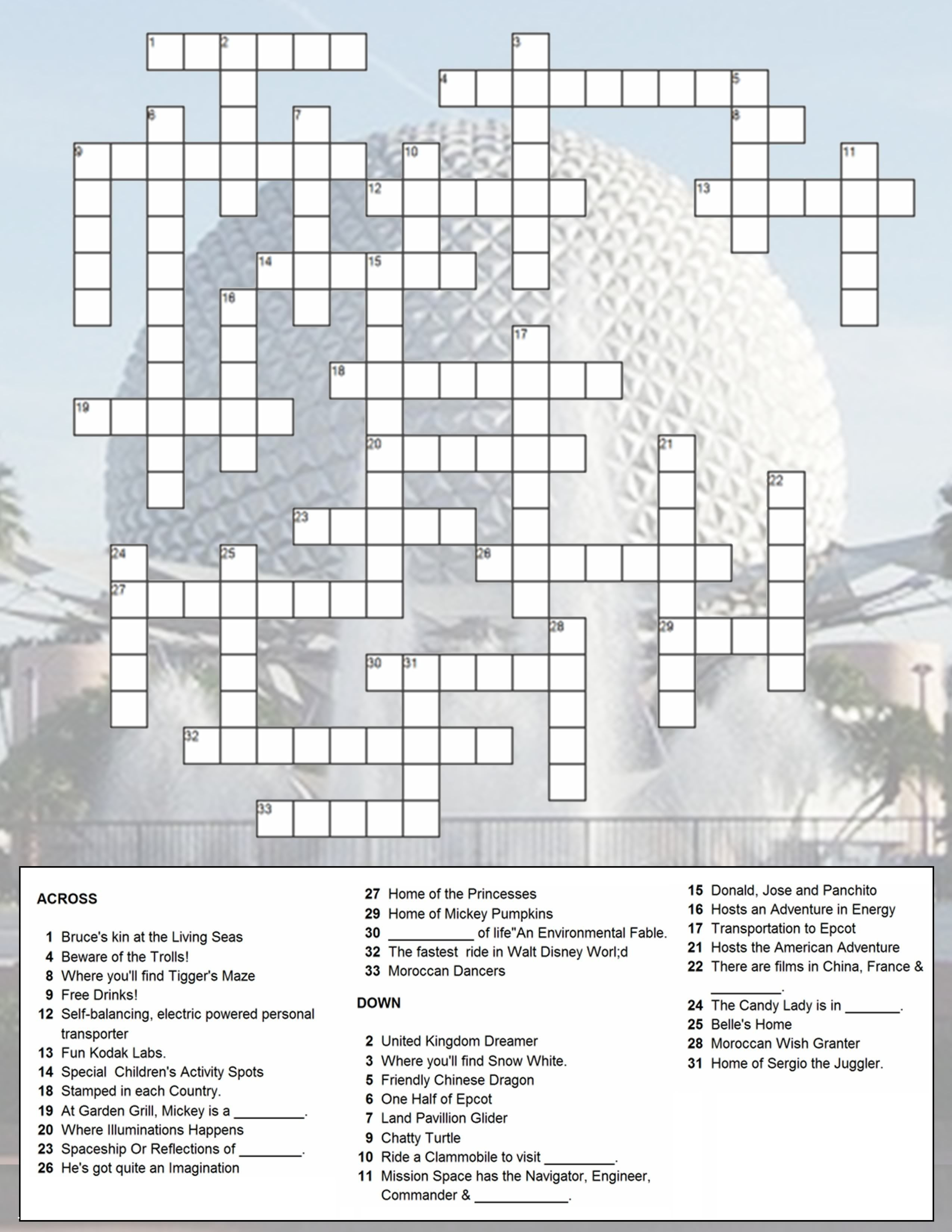 Epcot Crossword Puzzle | Just Because You Have A Fast Passdoesn't - Crossword Puzzle Printable Disney