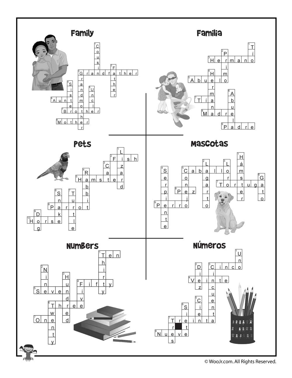 Esl Worksheet Crossword Puzzle Answers | Woo! Jr. Kids Activities - Printable Spanish Crossword Puzzle